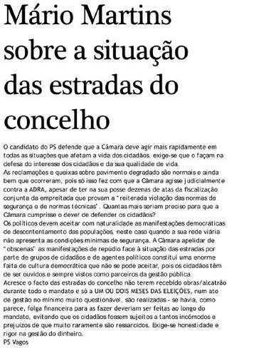 Mário Martins toma posição sobre a situação das estradas em Vagos
